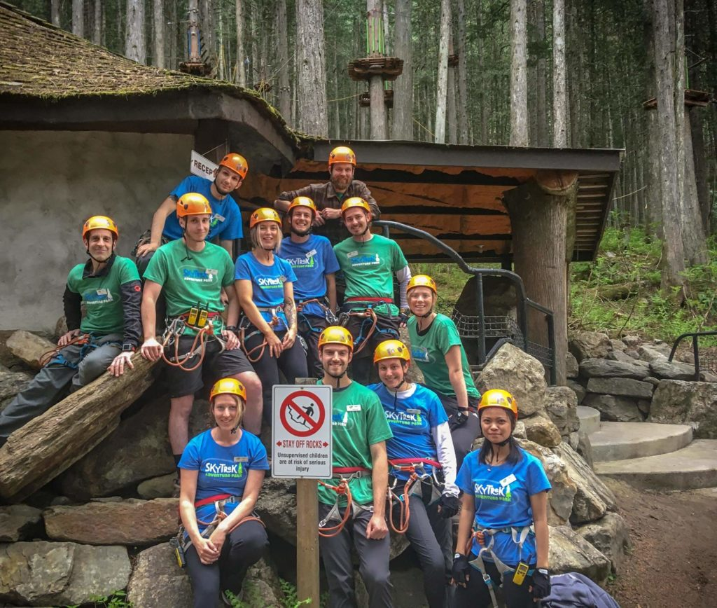 Our team of guides and park supervisors @ SkyTrek Adventure Park, BC