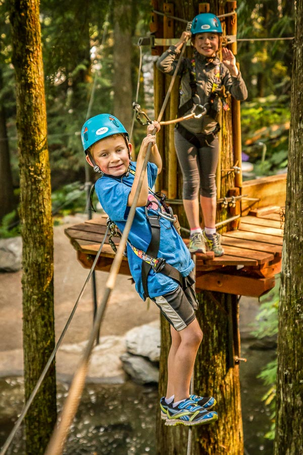 "The Kids Course utilizes a continuous belay device enabling kids to just ""clip and trek"""