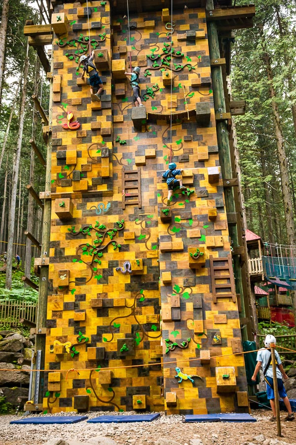 Revelstoke attraction: the Indiana Jones climbing wall @ SkyTrek Adventure Park