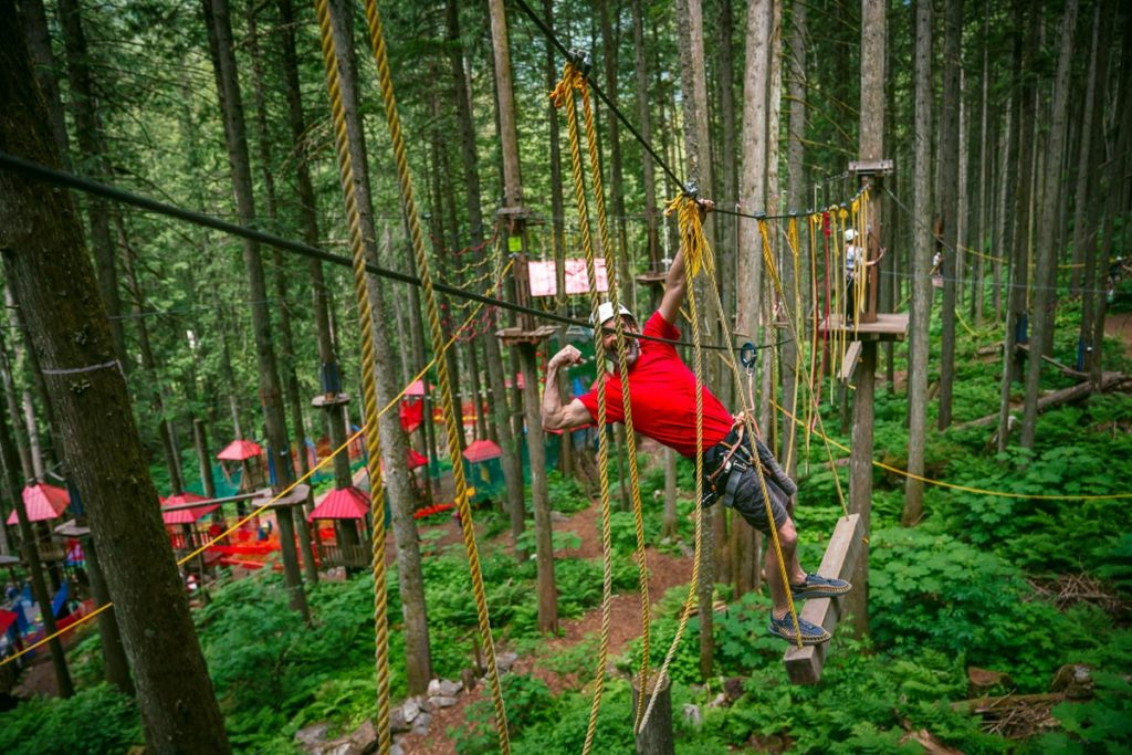 Having fun on the Sky Course @ SkyTrek Adventure Park, BC