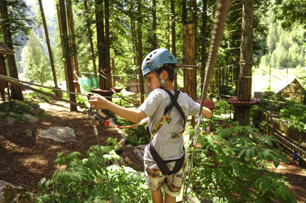 Low ropes course for the kids: a great introduction to climbing for the little ones!