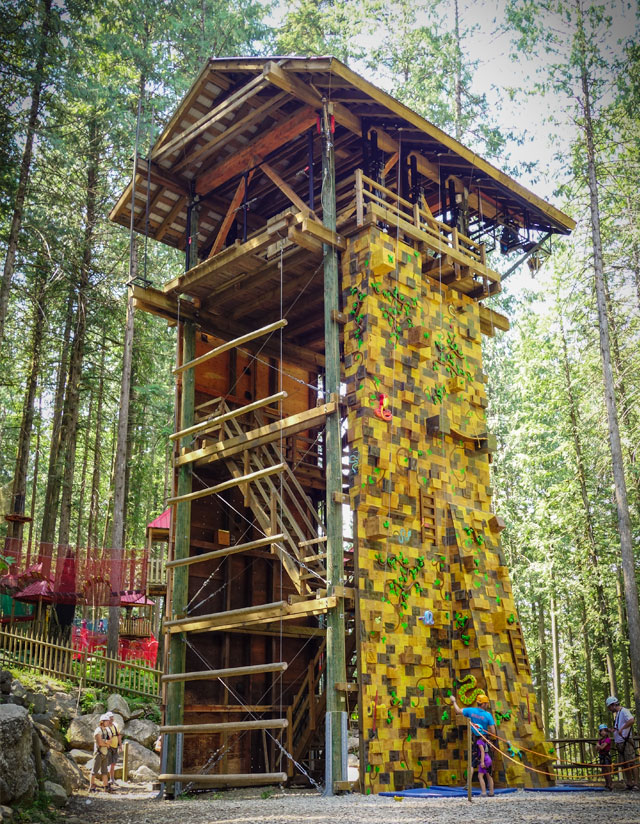 Revelstoke attraction: the Indiana Jones climbing wall on the Adventure Tower @ SkyTrek Adventure Park, an aerial adventure park for the whole family just outside Revelstoke, BC