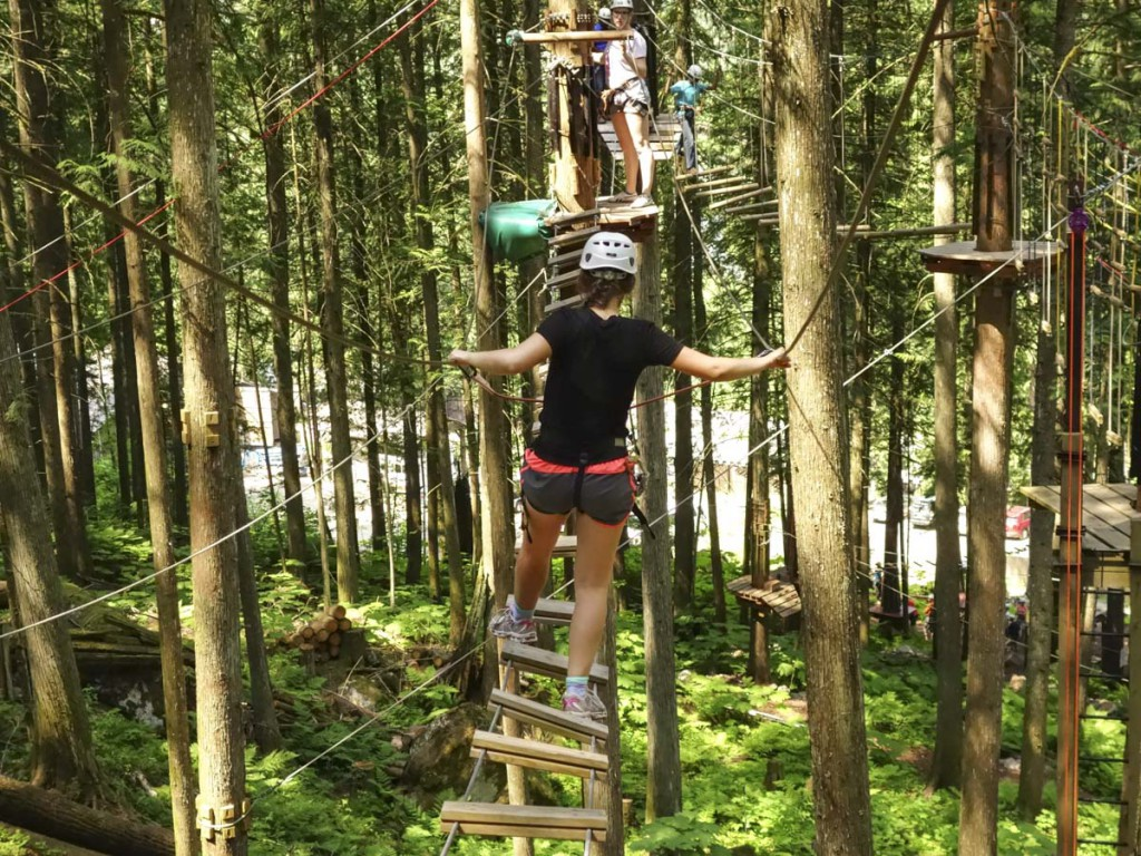 Crossing a bridge on the Sky Course @ SkyTrek Adventure Park, BC