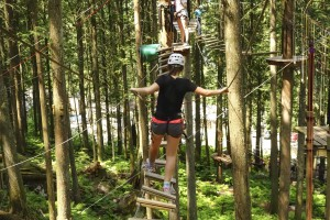 Crossing a bridge - SkyTrek Aerial Trekking Course